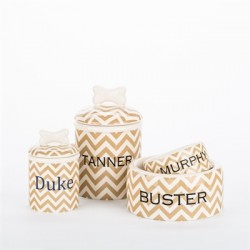 Personalized Chevron Bowls and Treat Jars Collection