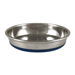 Ourpet's Premium Rubber-Bonded Stainless Steel Cat Dish